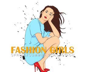 Fashion girl design vectors 07