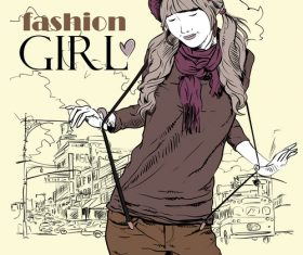 Fashion girl with city background vector 01
