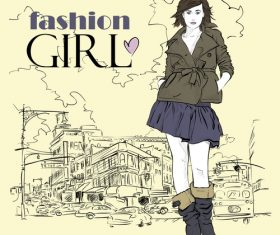 Fashion girl with city background vector 02