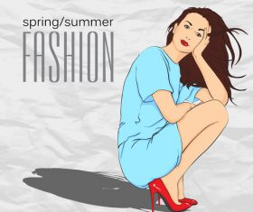 Fashion girl with paper background vector