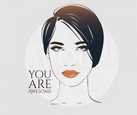 Fashion woman with modern background vector 09
