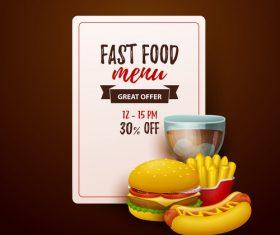 Fast food menu discount template vector 01