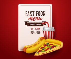 Fast food menu discount template vector 02