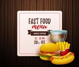 Fast food menu discount template vector 03