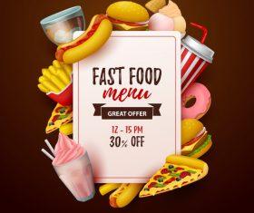Fast food menu discount template vector 04