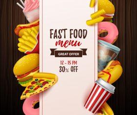 Fast food menu discount template vector 05