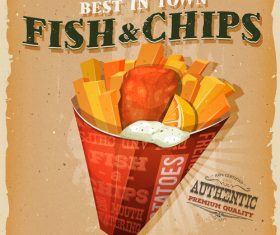 Fish and chips poster template retro vector