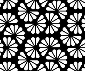 Floral black with white seamless pattern vector 01