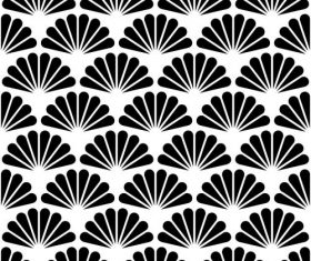 Floral black with white seamless pattern vector 02