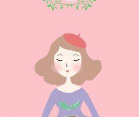 Flower house girl cartoon illustration vector