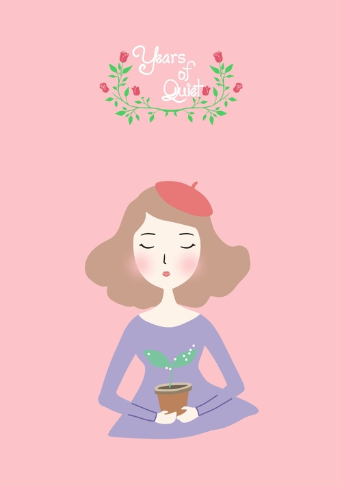 Flower house girl cartoon illustration vector