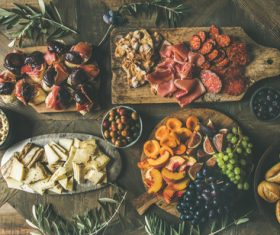 Food cheese fruit bread barbecue prepared for the party Stock Photo 01