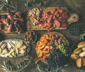 Food cheese fruit bread barbecue prepared for the party Stock Photo 02