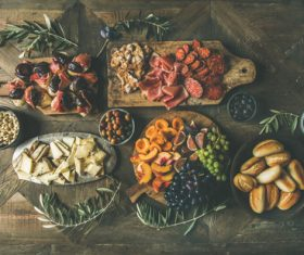 Food cheese fruit bread barbecue prepared for the party Stock Photo 03