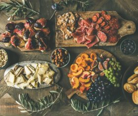 Food cheese fruit bread barbecue prepared for the party Stock Photo 04