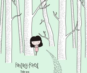 Forest girl cartoon illustration vector