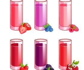 Fruit juice with glass cup vector