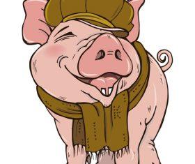 Funny pig illustration design cartoon vector 01