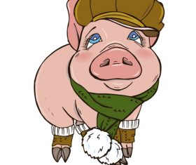 Funny pig illustration design cartoon vector 02