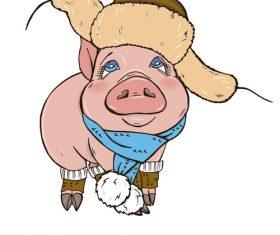 Funny pig illustration design cartoon vector 03
