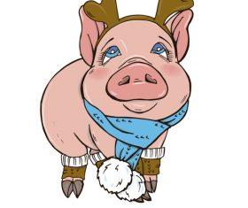 Funny pig illustration design cartoon vector 04