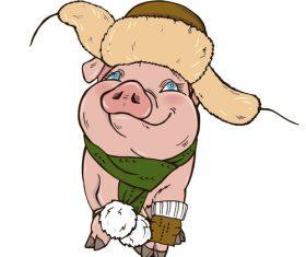 Funny pig illustration design cartoon vector 05