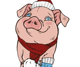 Funny pig illustration design cartoon vector 06