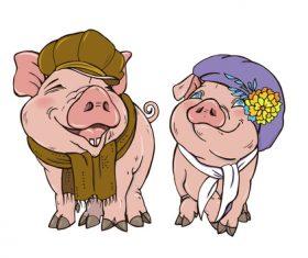 Funny pig illustration design cartoon vector 07