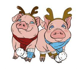 Funny pig illustration design cartoon vector 08