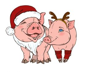 Funny pig illustration design cartoon vector 09