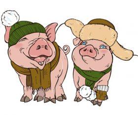 Funny pig illustration design cartoon vector 10