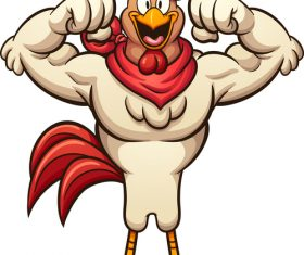 Funny strong rooster cartoon vector illustration