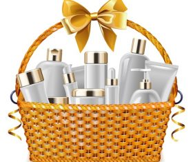 Gift Basket with Cosmetic Packaging vectors