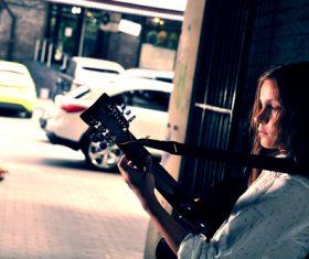 Girl guitar musical performance Stock Photo 01