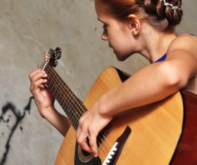 Girl guitar musical performance Stock Photo 02
