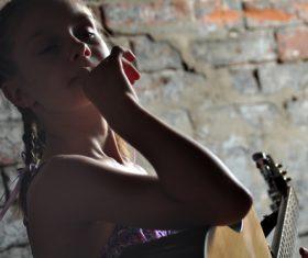 Girl guitar musical performance Stock Photo 03