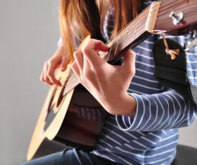 Girl guitar musical performance Stock Photo 04