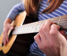 Girl guitar musical performance Stock Photo 06