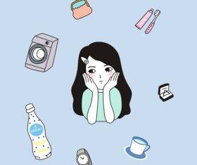 Girl minimalistic cartoon illustration vector