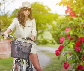 Girl riding a bicycle Stock Photo