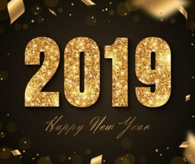 Golden 2019 text with new year background vector