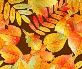 Golden autumn leaves pattern seamless vectors 03