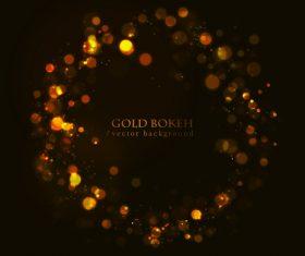 Golden bokeh vector background 02