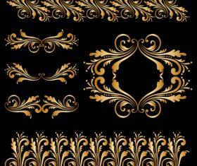 Golden floral ornament elements design vectors 01
