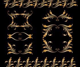 Golden floral ornament elements design vectors 02