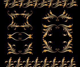 Golden borders with ornament design vector 02