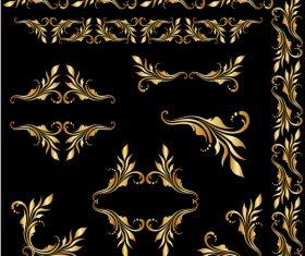 Golden floral ornament elements design vectors 03