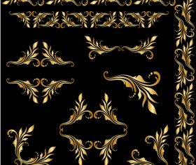 Golden borders with ornament design vector 03