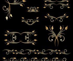 Golden floral ornament elements design vectors 04