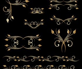 Golden borders with ornament design vector 04